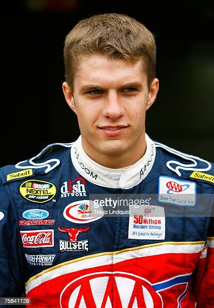 David Ragan driver of the AAA Insurance Ford looks on prior to practice for the NASCAR Nextel Cup Series Allstate 400 at Indianapolis Motor Speedway...