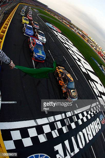 David Ragan driver of the UPS Ford leads the field to the green flag to start the NASCAR Sprint Showdown at Charlotte Motor Speedway on May 22 2010...