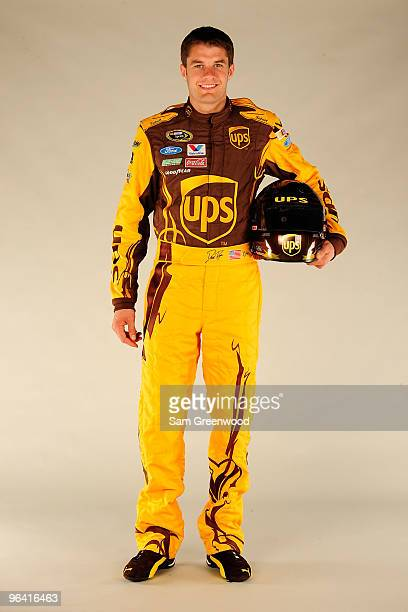 David Ragan driver of the UPS Ford poses during NASCAR media day at Daytona International Speedway on February 4 2010 in Daytona Beach Florida