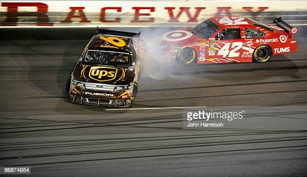 David Ragan driver of the UPS Ford spins out of control causing Juan Pablo Montoya driver of the Target Chevrolet to crash during the NASCAR Sprint...