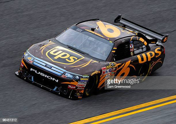 David Ragan drives the UPS Ford during practice for the NASCAR Sprint Cup Series Daytona 500 at Daytona International Speedway on February 5 2010 in...