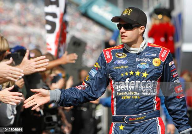 David Ragan is introduced before the NASCAR Sprint Cup series AAA Texas 500 at Texas Motor Speedway in Fort Worth Texas on November 3 2013