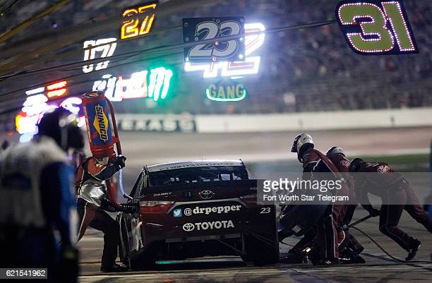 David Ragan's pit crew services his car during the AAA Texas 500 on Sunday, Nov. 6, 2016 at Texas Motor Speedway in Fort Worth, Texas.