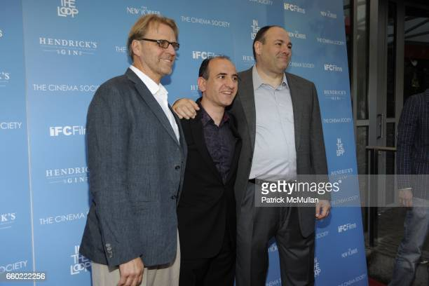 David Rasche Armando Iannucci and James Gandolfini attend THE CINEMA SOCIETY THE NEW YORKER host a screening of 'IN THE LOOP' at IFC Center on July...