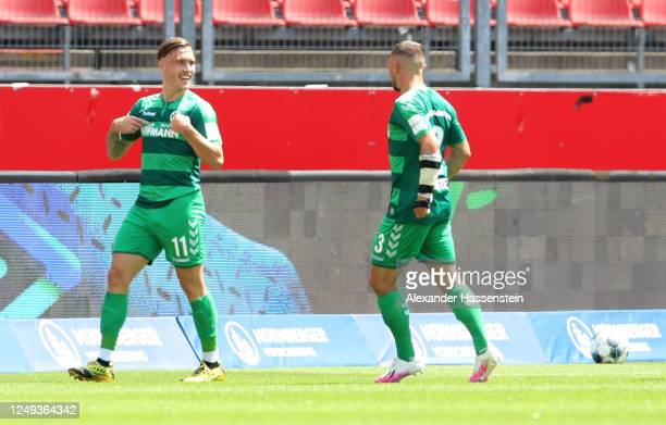 David Raum of SpVgg Greuther Fuerth celebrates after scoring his team's first goal during the Second Bundesliga match between 1. FC Nürnberg and...
