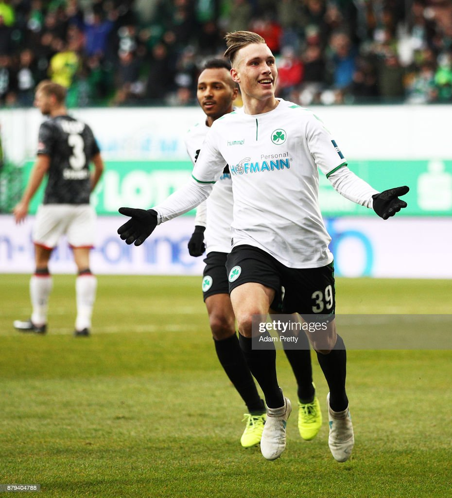 David Raum of SpVgg Greuther Fuerth celebrates scoring the second goal during the Second Bundesliga match between SpVgg Greuther Fuerth and FC St. Pauli at Sportpark Ronhof Thomas Sommer on November 26, 2017 in Fuerth, Germany.