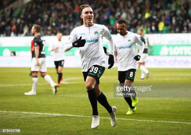 David Raum of SpVgg Greuther Fuerth celebrates scoring the second goal during the Second Bundesliga match between SpVgg Greuther Fuerth and FC St....