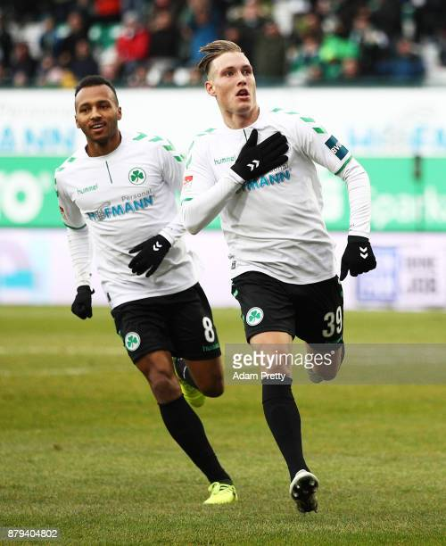 David Raum of SpVgg Greuther Fuerth celebrates scoring the second goal during the Second Bundesliga match between SpVgg Greuther Fuerth and FC St...