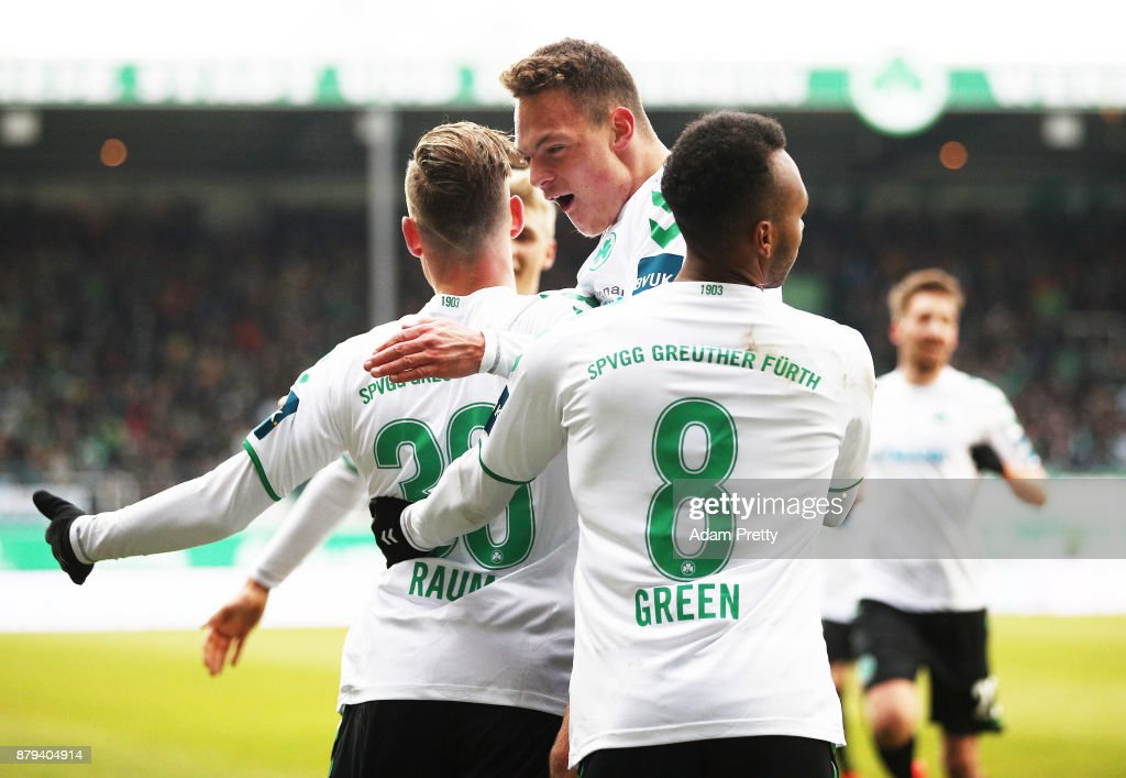 David Raum of SpVgg Greuther Fuerth is congratulated after scoring the second goal during the Second Bundesliga match between SpVgg Greuther Fuerth and FC St. Pauli at Sportpark Ronhof Thomas Sommer on November 26, 2017 in Fuerth, Germany.