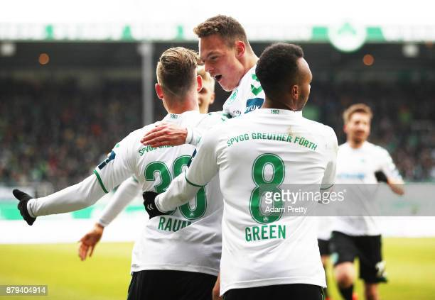 David Raum of SpVgg Greuther Fuerth is congratulated after scoring the second goal during the Second Bundesliga match between SpVgg Greuther Fuerth...