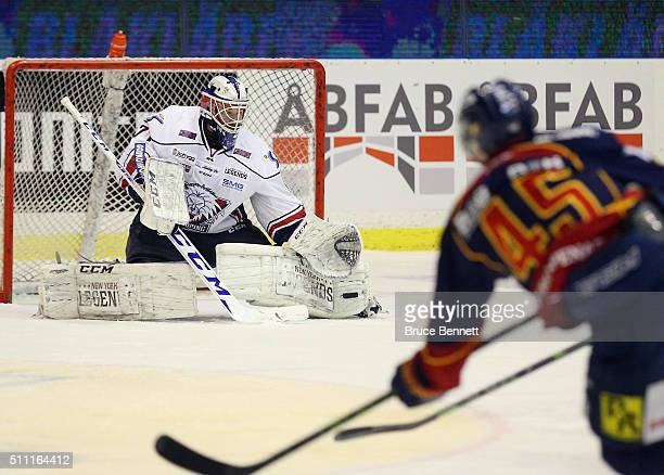 David Rautio of Linkoping HC makes the first period save on Alexander Falk of Djurgarden Hockey and at Hovet Arena on February 18 2016 in Stockholm...