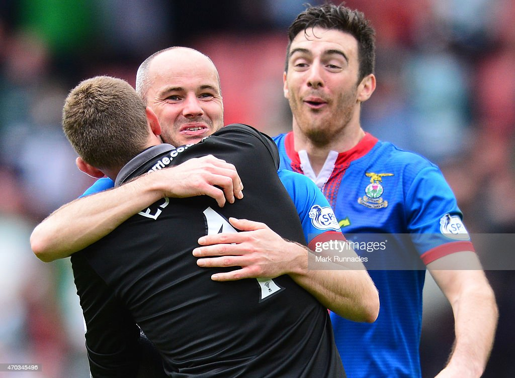 David Raven and Ryan Esson of Inverness Caledonian Thistle celebrates their teams famous victory over Celtic at full time, during the William Hill Scottish Cup Semi Final match between Inverness Caledonian Thistle and Celtic at Hamden Park on April 19, 2015 in Glasgow Scotland.
