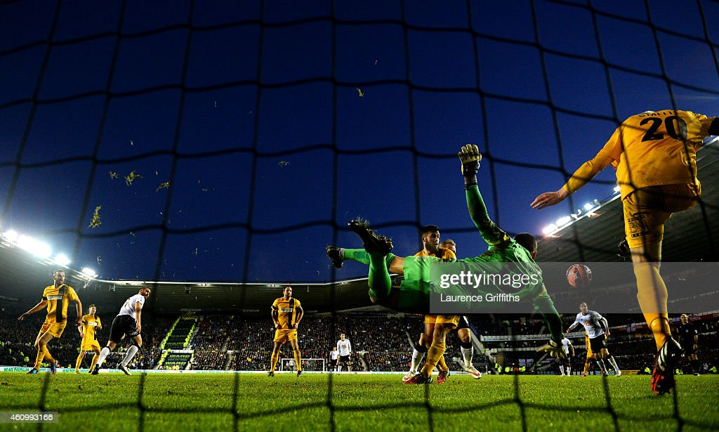 David Raya Martin of Southport makes a save during the FA Cup Third Round match between Derby County and Southport FC at iPro Stadium on January 3, 2015 in Derby, England.