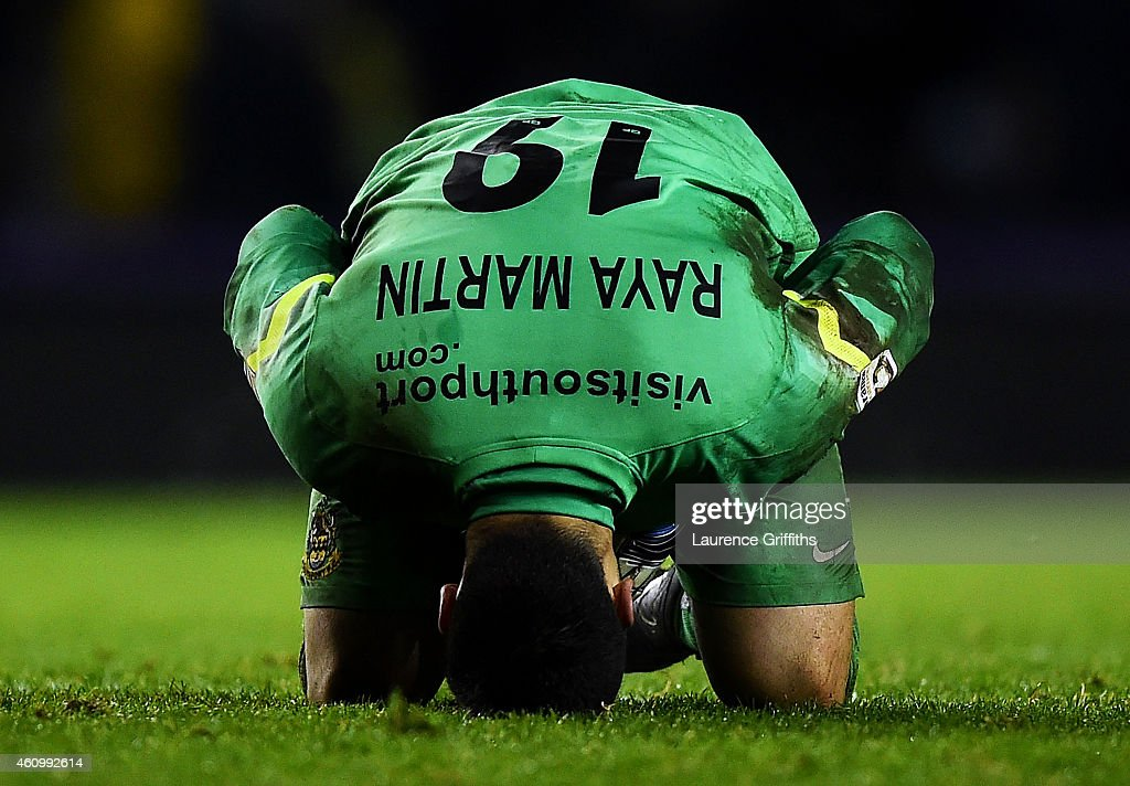 David Raya Martin of Southport shows his dejection during the FA Cup Third Round match between Derby County and Southport FC at iPro Stadium on January 3, 2015 in Derby, England.