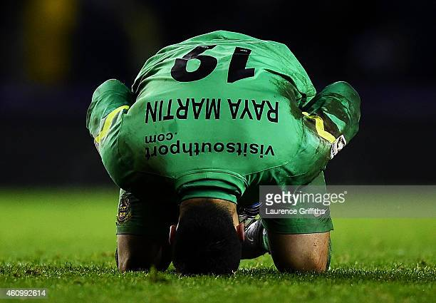 David Raya Martin of Southport shows his dejection during the FA Cup Third Round match between Derby County and Southport FC at iPro Stadium on...