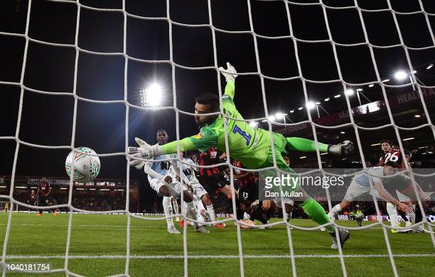 David Raya of Blackburn Rovers fails to stop a header from Callum Wilson of AFC Bournemouth for his side's third goal during the Carabao Cup Third...