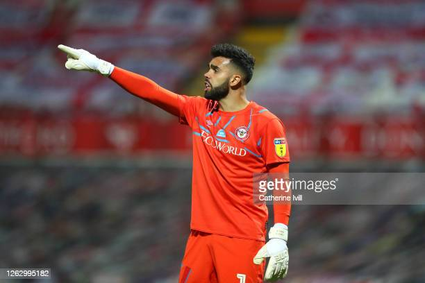 David Raya of Brentford during the Sky Bet Championship Play Off Semifinal 2nd Leg match between Brentford and Swansea City at Griffin Park on July...