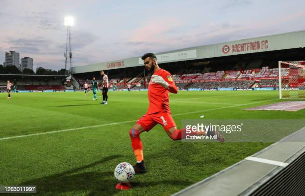 David Raya of Brentford kicks the ball during the Sky Bet Championship Play Off Semifinal 2nd Leg match between Brentford and Swansea City at Griffin...