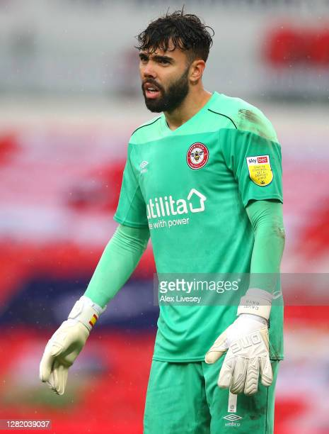 David Raya of Brentford looks on during the Sky Bet Championship match between Stoke City and Brentford at Bet365 Stadium on October 24 2020 in Stoke...