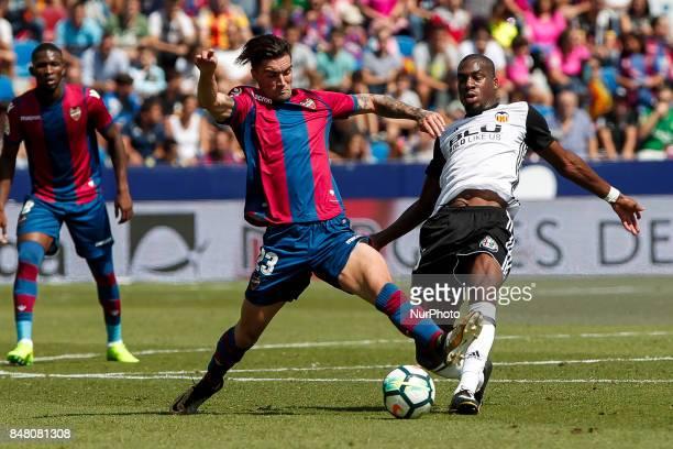 23 David Remeseiro Jason of Levante Ud and 16 Geoffrey Kondogbia of Valencia CF during spanish La Liga Santander match between Levante UD and...