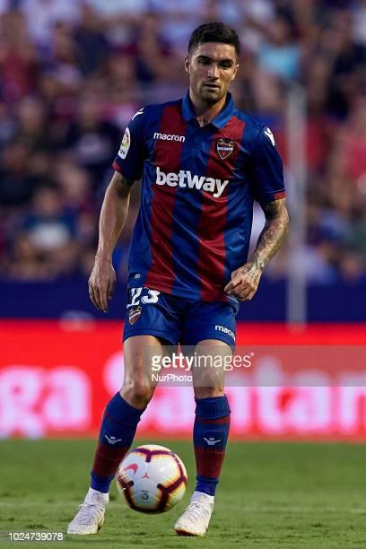 David Remeseiro Salgueiro Jason of Levante UD with the ball during the La Liga match between Levante and Celta de Vigo at Ciutat de Valencia on...