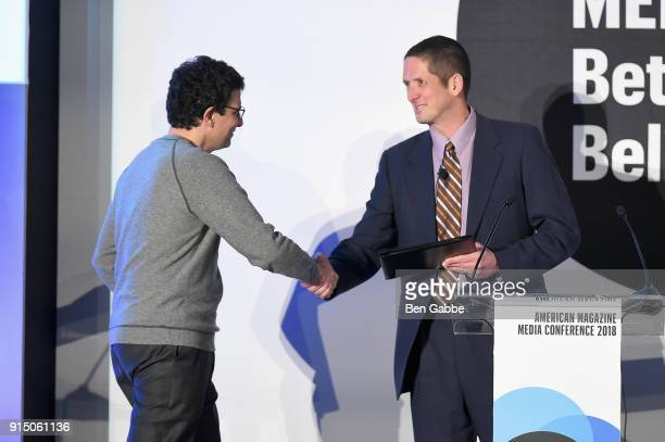 David Remnick accepts award from Jon Dorn at the American Magazine Media Conference 2018 on February 6 2018 in New York City