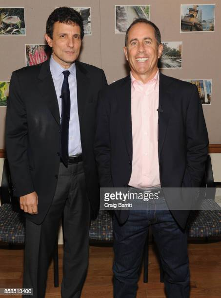 David Remnick and Jerry Seinfeld pose backstage during the 2017 New Yorker Festival at New York Society for Ethical Culture on October 6 2017 in New...