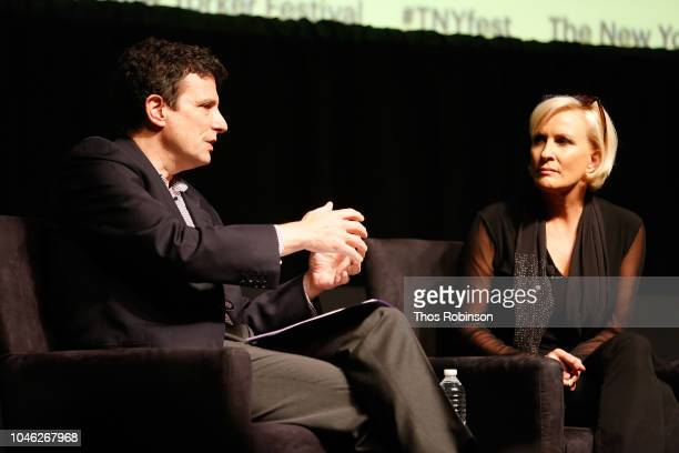 David Remnick and Mika Brzezinki speak on stage at the 2018 New Yorker Festival MSNBC Hosts Joe Scarborough And Mika Brzezinski In Conversation With...