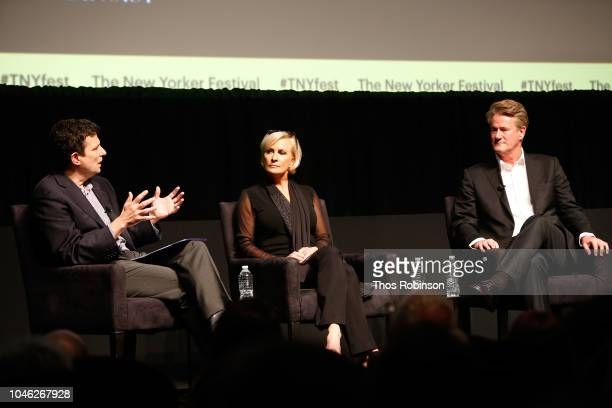 David Remnick Mika Brzezinki and Joe Scarborough speak on stage at the 2018 New Yorker Festival MSNBC Hosts Joe Scarborough And Mika Brzezinski In...