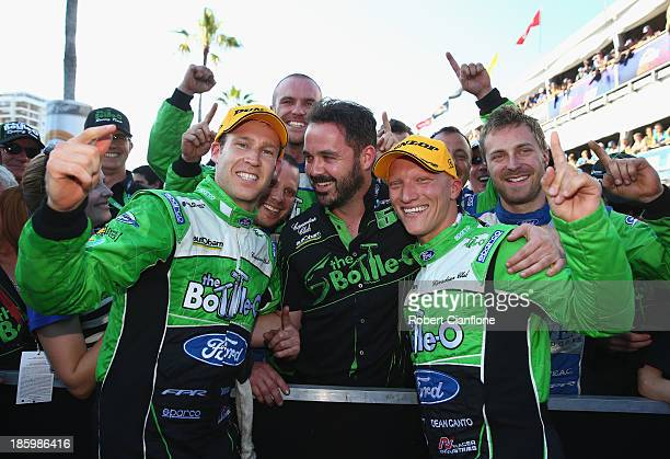 David Reynolds and co driver Dean Canto drivers of the The BottleO FPR Ford celebrate after winning race 31 of the Gold Coast 600 which is round 12...