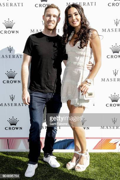 David Reynolds and Tahan lew arrives ahead of the 2018 Crown IMG Tennis Player at Crown Palladium on January 14 2018 in Melbourne Australia