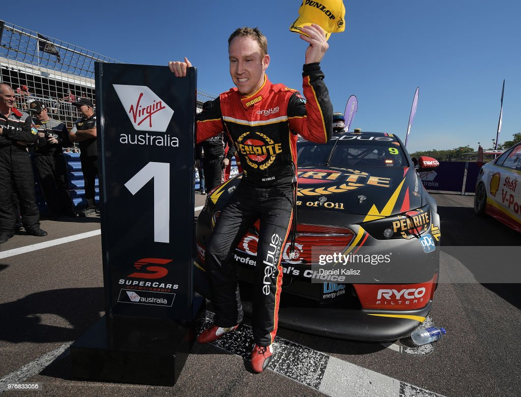 David Reynolds driver of the #9 Erebus Penrite Racing Holden Commodore ZB celebrates after winning race 16 for the Supercars Darwin Triple Crown at Hidden Valley Raceway on June 17, 2018 in Darwin, Australia.