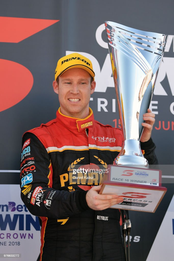 David Reynolds driver of the #9 Erebus Penrite Racing Holden Commodore ZB celebrates on the podium after winning race 16 for the Supercars Darwin Triple Crown at Hidden Valley Raceway on June 17, 2018 in Darwin, Australia.