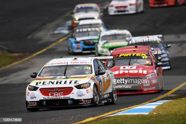 David Reynolds drives the Erebus Penrite Racing Holden Commodore ZB leads during race for grid 2 for the Supercars Sandown 500 at Sandown...