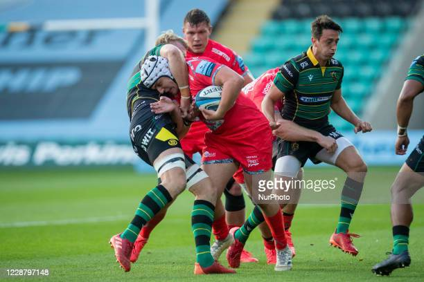 David Ribbans of Northampton Saints and Curtis Langdon of Sale Sharks during the Gallagher Premiership match between Northampton Saints and Sale...