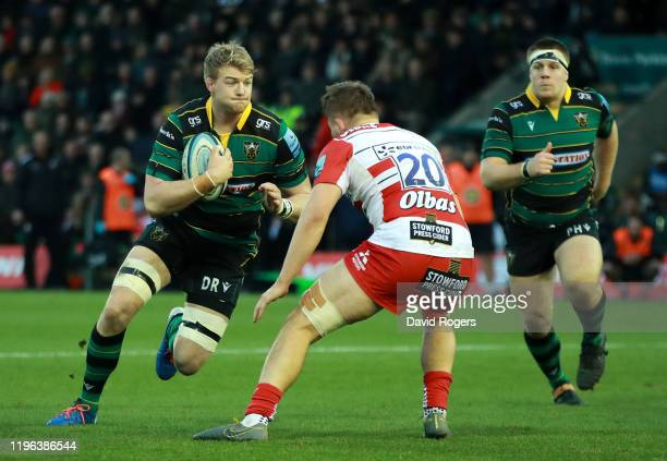 David Ribbans of Northampton Saints takes on Freddie Clarke during the Gallagher Premiership Rugby match between Northampton Saints and Gloucester...