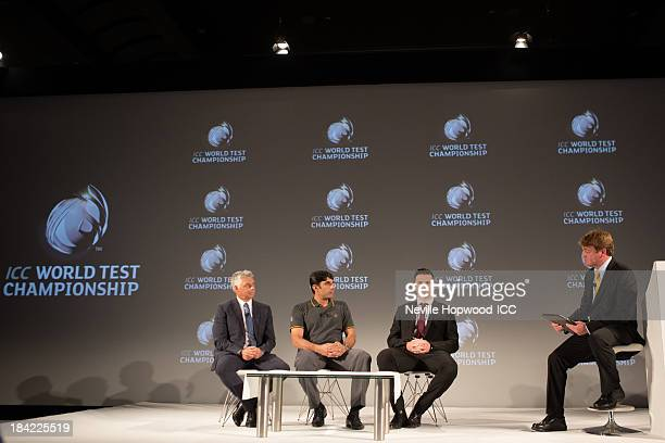 David Richardson CEO of the ICC Misbah Ul Haq captain of Pakistan Graeme Smith captain of South Africa and MC Neil Manthorp discuss the new ICC World...