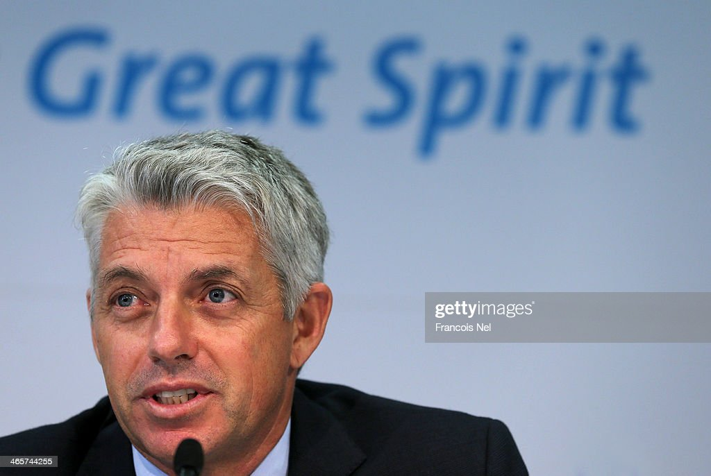 David Richardson, Chief Executive of the ICC speaks to the media during the ICC press conference after a two day board meeting at the ICC Headquarters in Dubai Sports City on January 29, 2014 in Dubai, United Arab Emirates.