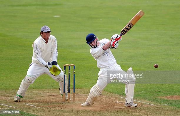David Richardson of Wanstead Snaresbrook hits out to the boundary during the Kingfisher Beer Cup Final between York and Wanstead Snaresbrook at The...