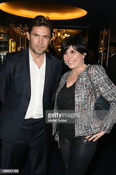 David Rigaut and Liane Foly attend the Paris Merveilles' Lido New Revue The Show At Opening Gala In Paris at Le Lido on April 8 2015 in Paris France