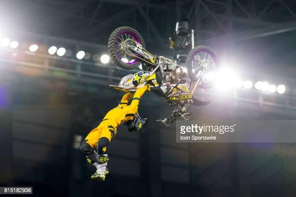 David Rinaldo flips during Moto X Freestyle at X Games Minneapolis on July 14 2017 at US Bank Stadium in Minneapolis Minnesota