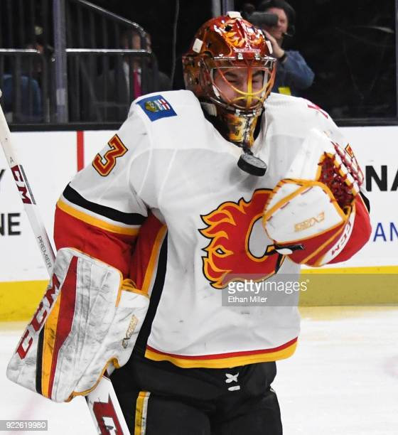 David Rittich of the Calgary Flames blocks a shot by the Vegas Golden Knights in the second period of their game at TMobile Arena on February 21 2018...