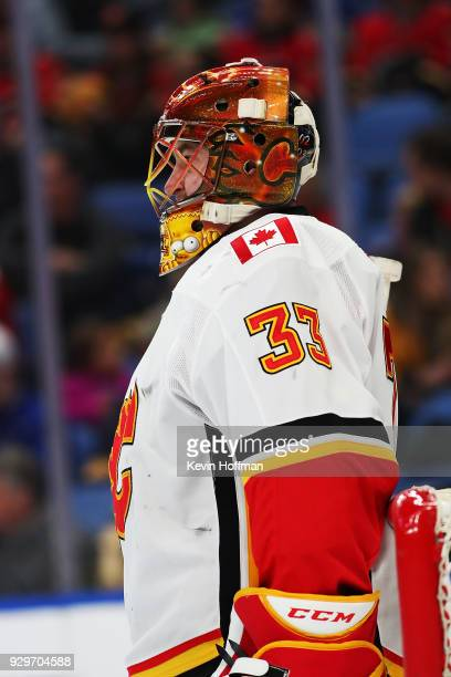 David Rittich of the Calgary Flames during the game against the Buffalo Sabres at KeyBank Center on March 7 2018 in Buffalo New York