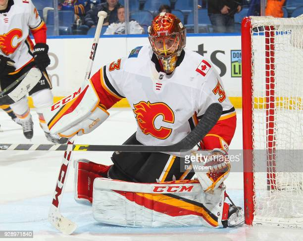 David Rittich of the Calgary Flames follows the play during an NHL game against the Buffalo Sabres on March 7 2018 at KeyBank Center in Buffalo New...