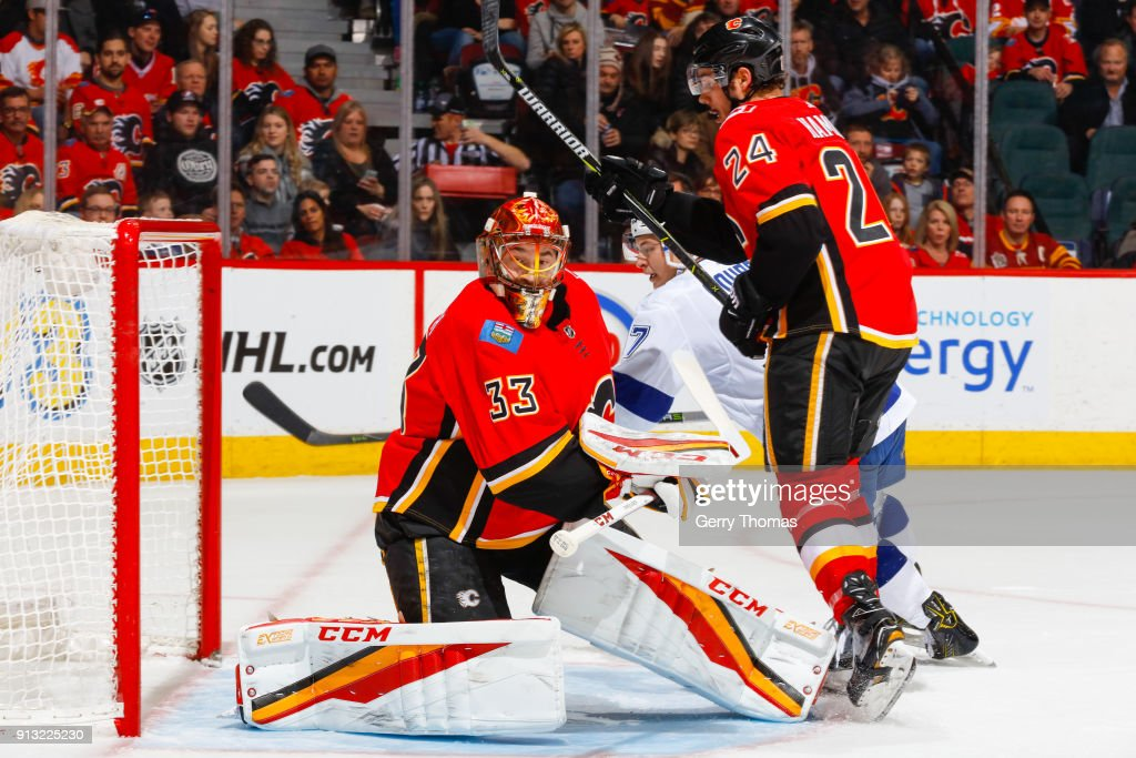 David Rittich #33 of the Calgary Flames guards the net n an NHL game on February 1, 2018 at the Scotiabank Saddledome in Calgary, Alberta, Canada.