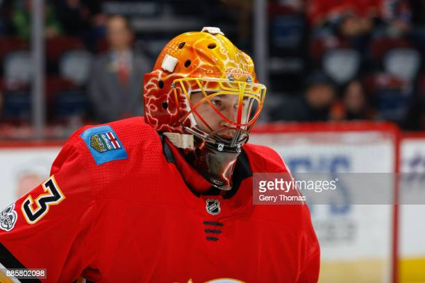 David Rittich of the Calgary Flames in a game against the Philadelphia Flyers at the Scotiabank Saddledome on December 04 2017 in Calgary Alberta...