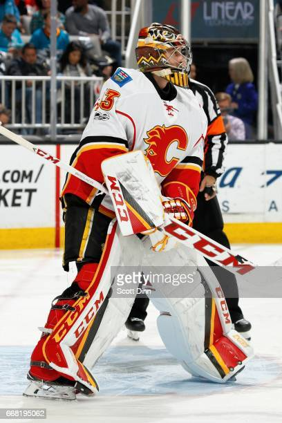 David Rittich of the Calgary Flames looks during a NHL game against the [[OppTeam]] at SAP Center at San Jose on April 8 2017 in San Jose California