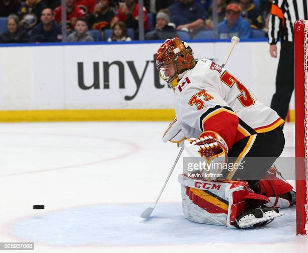 David Rittich of the Calgary Flames makes the save against the Buffalo Sabres during the second period at KeyBank Center on March 7 2018 in Buffalo...