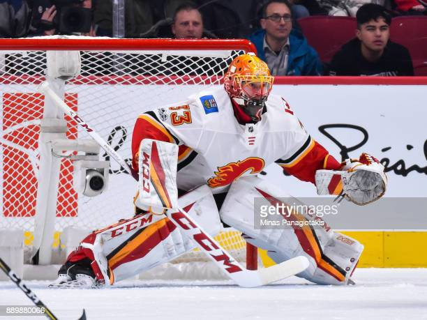 David Rittich of the Calgary Flames protects his net against the Montreal Canadiens during the NHL game at the Bell Centre on December 7 2017 in...