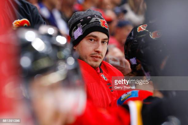 David Rittich of the Calgary Flames sits on the bench in an NHL game against the Toronto Maple Leafs at the Scotiabank Saddledome on November 28 2017...